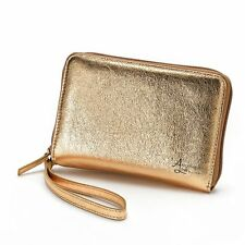 Another Line by LODIS Convertible Gold Metallic Leather Wallet Wristlet MSRP $88