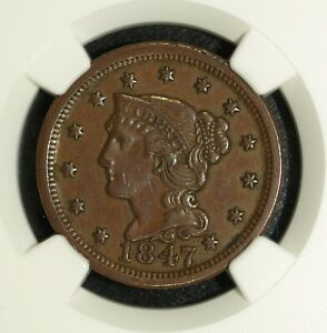 1847 NGC AU 55 Braided Hair Large Cent ☆☆ Great For Sets ☆☆ 052