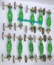 10 Pcs Door Part Crystal Cut Glass Door Cabinet Handle Green Brass Decor Handle