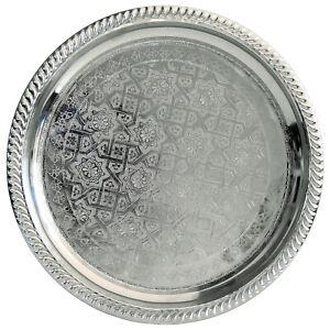 Oriental Silver Platter Tea Tray Side Table Marocco Handmade D28cm