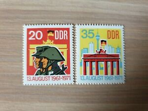 East Germany DDR 1971 Tenth Anniv of Berlin Wall. 2 stamp set MNH