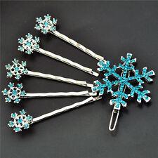 Chicas Pin Copo De Nieve pelo diapositiva Bobby Pin Set Frozen de Elsa Congelada Azul Diamantes de Imitación