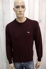 LACOSTE Uomo Taglia 3 Maglione M Lana Nero Sweater Pullover Maglietta Man Maglia