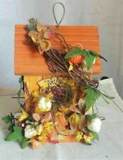 Vintage Wooden Bird House Feeder with Dried Flowers & Welcome Sign