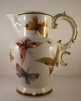 """Ardalt Pottery Signed HandPainted Butterfly 10.5"""" Pitcher, Face Spout #4088"""