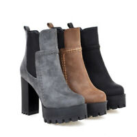 Women Super High Thick Heel Platform Martin Ankle Short Boots PU Leather Shoes