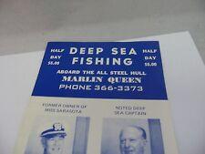 Vintage Brochure: Deep Sea Fishing Marlin Queen Sarasota Area