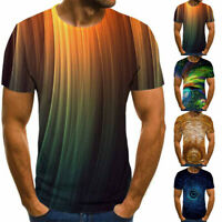 Fashion Mens 3D T-Shirt Round Neck Tee Tops Print Summer Short Sleeve Shirts