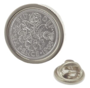 1965 Silver Sixpence Coin in Silver Plate 56 year gift badge brooch tie pin