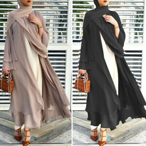 Ramadan Muslim Abaya Women Open Kimono Dubai Islamic Jilbab Kaftan Cardigan Robe