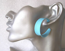 Turquoise Textured Metal Hoop Earrings Vintage Stock 1990s Retro