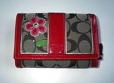 NEW Coach Ltd Ed  Khaki Signature C Patent Flower Applique Purse Bag Wallet RARE