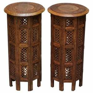 PAIR OF TALL LIBERTY'S CIRCA 1900 SYRIAN HAND CARVED ROSEWOOD SIDE END TABLES