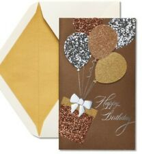 PAPYRUS HAPPY BIRTHDAY CARD METALLIC GLITTER BALLOONS matching envelope and seal