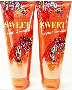 Bath Body Works SWEET TROPICAL VANILLA Ultra Shea Body Cream, 8 oz, NEW x 2