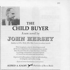 1960 John Hersey Print Ad Book 'The Child Buyer' borzoi books Great documenting