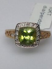 10K Yellow Gold Cushion Cut Peridot and Diamond Halo Filagree Ring Size 7.25 New
