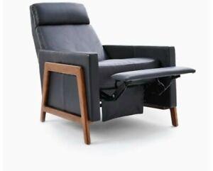 williams sonoma spencer wood-framed leather recliner