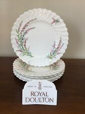 """Royal Doulton BELL HEATHER SCALLOPED 9 ¼"""" Luncheon Plate~ Set of 6 (Lot B)"""