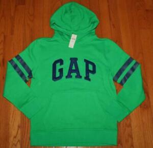 NEW NWT Boys GAP LOGO Hoodie Pullover Hooded Sweatshirt Gallant Green Stripe *6C