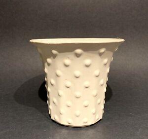 "Vintage Nelson McCoy Pottery 4"" Matte White Hobnail Jardiniere"