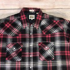 Ely Cattleman Mens XLT Shirt Jacket Insulated Flannel Blue Red Plaid Pearl Snap