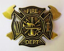 VINTAGE BRASS ANTIQUE  FIRE FIGHTER EMERGENCY 911 BELT BUCKLE LOGO WITH AXES