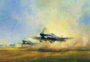 Frank Wootton RAF D-Day Hawker Typhoon print signed 5 Battle of Britain pilots