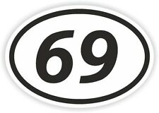 69 SIXTY-NINE NUMBER OVAL STICKER bumper decal motocross motorcycle Aufkleber