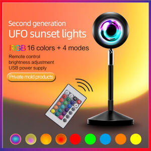 AU Hot!LED Sun Sunset Rainbow Projector Atmosphere Light Lamp USB Home DIY Gifts
