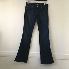 """Seven 7 for All Mankind Womens 28 Dark Blue Crystal """"A"""" Pocket Bootcut Jeans"""