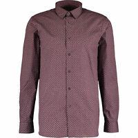 TED BAKER Men's Burgundy Dot Print Shirt, sizes 3 4 / M L