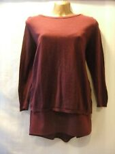 LADIES Next 16 CLARET STRETCH/WRAP LACE BACK/ DETACHABLE CAMI/MID-SLEEVED TOP