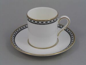 WEDGWOOD BLACK ULANDER ESPRESSO COFFEE CUP/CAN AND SAUCER.