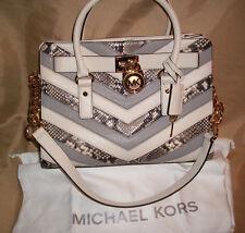 "$378 MICHAEL KORS Leather  Ecru Hamilton python print 13"" length Satchel Handbag"