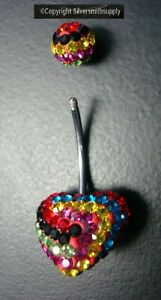 NEW Stainless Steel Swarovski Crystal Navel Ring Heart Shaped Belly Ring  FJ001