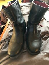Tommy Hilfiger Womens Black/ red accent Leather  zip Ankle Boots Size 9 M