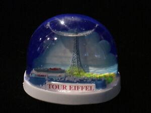 Vintage Eiffel Tower Snowdome Souvenir-Snow Globe-Tour Eiffel - Blue