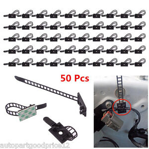 50x 3M Self Adhesive Adjustable Car Wire Cable Tie Clips Fastens Fixed Organizer