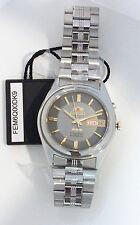 ORIENT 3 Star Automatic Watch Mens SILVER tone Grey dial FEM6Q00DK9 NEW