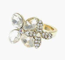 Katy Perry Gold Crystal Double Flower Ring Prism Collection Size 6 NWT