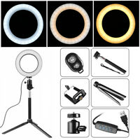 "8"" Dimmable 5500K LED Ring Light Kit with Stand Makeup Phone Camera Selfie Photo"