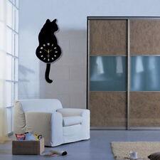 30CM Creative Acrylic Cute Cartoon Tail Move Cat Wall Clock Home Office Decor