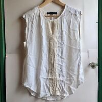 ROSE OLIVE White Cream Ivory Lace Stripe Short Sleeve Sheer Blouse Top Large