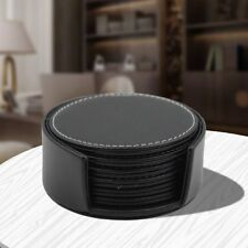 Set of 6 Round PU Leather Coasters With Holder Protecting Table Cup Mat Placemat