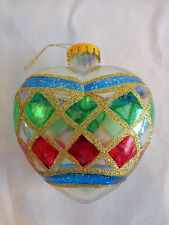 "Heart Christmas Ornament 3.5"" Ball Plastic Gold Glitter Vintage Hand Painted"