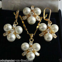 New Jewelry Real White South Sea Shell Pearl Pendant Earring Ring Set Fashion