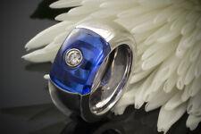 Schmuck Cadeux Designer Ring blau mit Solitär Brillant 750er Weißgold 18 Karat