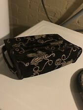 Toiletry Bag Embroidered And Make Up Pouch Black Two Pieces