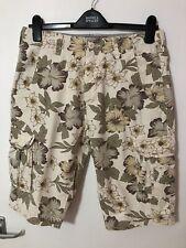 Mens Beige Floral Cargo Shorts Size S